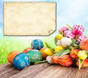 Easter greetin card. Easter still life with empty greeting card for your text Stock Images