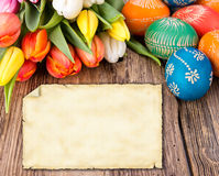 Easter greetin card. Easter still life with empty greeting card for your text Royalty Free Stock Photo