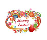Easter greeting with abstract frame and colorful eggs Stock Photo