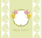 Easter greeting background with wreath of crocuses Stock Images