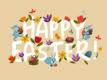 Easter Greeting Bright Floral  White Lettering Royalty Free Stock Images