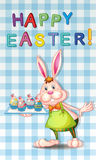 An easter greeting with a bunny. Illustration of an easter greeting with a bunny Stock Photography