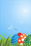 Easter greeting card. Illustration of a background with easter eggs in a blossom meadow,buttertfly and stars, useful as greeting card. EPS file available Royalty Free Stock Photo