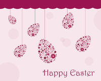 Easter greeting card. Illustration of a background with hanging floral easter eggs, useful as greeting card. EPS file available Stock Photo