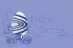 Easter greeting card with egg in spanish. An example of Easter greeting card. The text Felices Pascuas is thought for all spanish region in the world Royalty Free Stock Photos