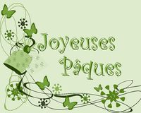 Colorful Easter greeting card with butterflies in. An example of Easter greeting card. The text joyeuses Paques is thought for all french region in the world Stock Photo