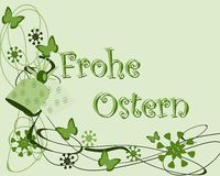 Easter greeting card with butterflies in German. An example of Easter greeting card. The text frohe Ostern is thought for all German region in the world Royalty Free Stock Photo