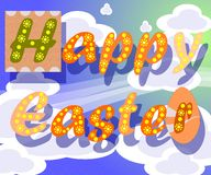 Easter greeting card with clouds in the sky stock photo
