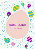 Easter greeting card. Colorfull easter greeting card. Bright egg on white background Stock Photos