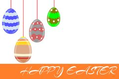 Easter greeting card with eggs isolated Stock Images
