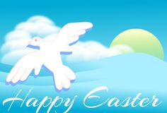 Easter greeting card with dove in sky Royalty Free Stock Photo