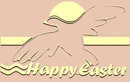 Easter greeting card with stylized dove Stock Photography