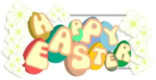 Easter greeting card with eggs and flowers isolated Stock Photos