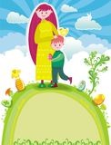 Easter greeting card. A young mother with a cute son standing at the top of the hill, at spring sunny Easter day Royalty Free Stock Photography