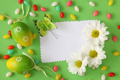 Easter greeting card. Green background royalty free stock images