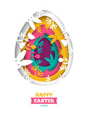 Easter greeting card with abstract carved egg. Happy Easter greeting card with abstract carved egg and floral paper cut shapes on white background. Vector Royalty Free Stock Photos