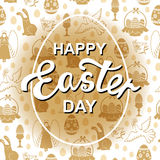 Easter greeting card with angel, egg, hare, dove Stock Photo