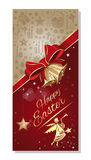 Easter greeting card with angel, ribbon and bow Stock Images