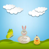 Easter greeting card with animals Royalty Free Stock Image