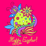Easter greeting card with beautiful egg royalty free stock image