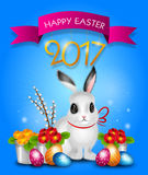 Easter greeting card 2017. Beautiful illustration of easter greeting card with easter rabbit, eggs and flowers Royalty Free Stock Photos