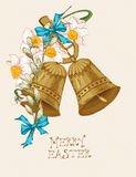 Easter greeting card with bells, flowers on beige background. Stock Photo