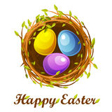 Easter greeting card, bird nest and color eggs Stock Photos