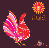 Easter greeting card with bird and sun Stock Photo