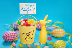 Easter greeting card on blue background Royalty Free Stock Photos