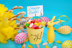 Easter greeting card on blue background Royalty Free Stock Image