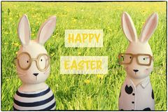 Happy easter - Easter greeting card with bunnies in spring meadow Stock Photos