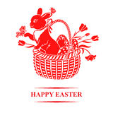 Easter greeting card with bunny in basket Royalty Free Stock Photos