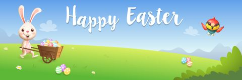 Easter greeting card - bunny carrying cart with decorated eggs on spring landscape - banner vector illustration. Easter greeting card - bunny carrying cart with vector illustration