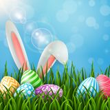 Easter greeting card with bunny ears and colorful eggs on blue background. Illustration of Easter greeting card with bunny ears and colorful eggs on blue Stock Photos