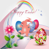 Easter greeting card with bunny and eggs Stock Photography