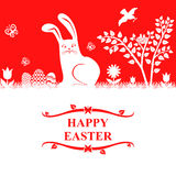Easter greeting card with bunny and eggs Royalty Free Stock Images