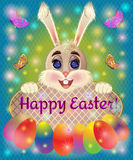 Easter greeting card with bunny rabbit Royalty Free Stock Images