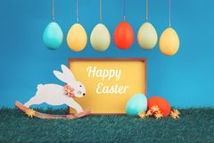 Easter greeting card with easter bunny stock images