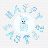 Easter Greeting Card with bunny Stock Images