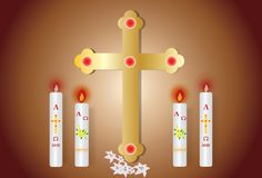 Easter greeting card with the burning candle vector illustration