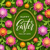 Easter greeting card. Easter calligraphic greeting in glitter gold egg-shaped frame and paper flowers. Easter greeting card. Easter calligraphic greeting in Stock Images
