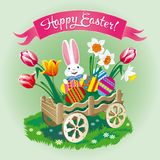 Easter greeting card with a cart with eggs and a rabbit