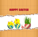 Easter greeting card with chicken Stock Photo