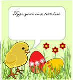 Easter greeting card with chicken and colored eggs Royalty Free Stock Photo