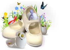 Easter Greeting Card with Children Booties and Eggs Stock Photo