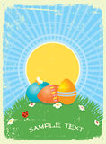 Easter greeting card with color eggs Royalty Free Stock Photos