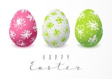 Easter greeting card with color eggs Stock Photos