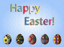 Easter greeting card with colored eggs. Illustrated royalty free illustration