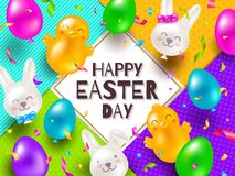 Easter greeting card. Colorful balloons in the shape of rabbits and chickens and confetti. Royalty Free Stock Photo
