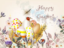 Easter greeting card with colorful eggs andsspring flowers vector illustration
